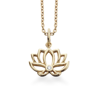 LUCKY CHARM Lotus blomst 8kt guld