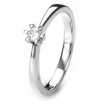 Solitaire-ring i hvidguld 0.10 ct